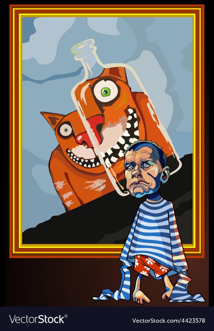 Cartoon caricature of a sad man vector | Price: 3 Credit (USD $3)