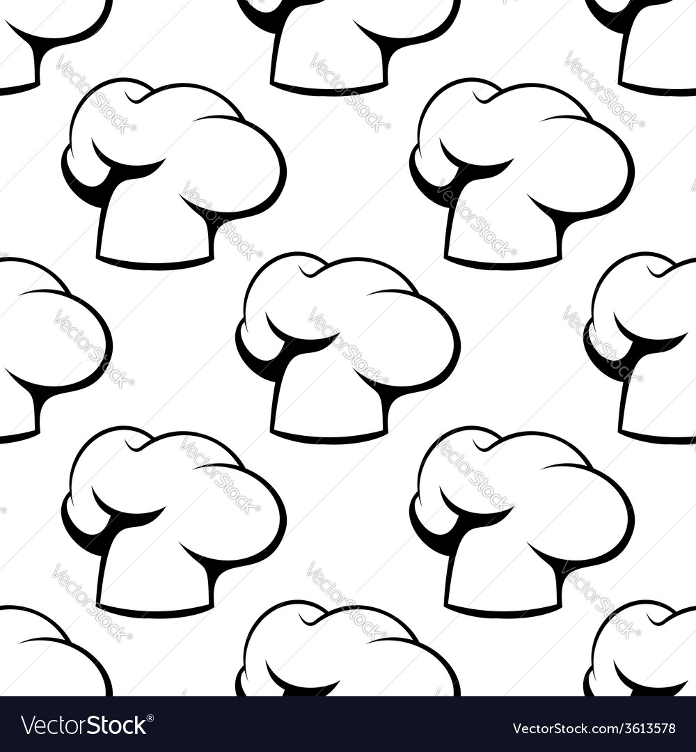 Chef toque outline seamless pattern vector | Price: 1 Credit (USD $1)