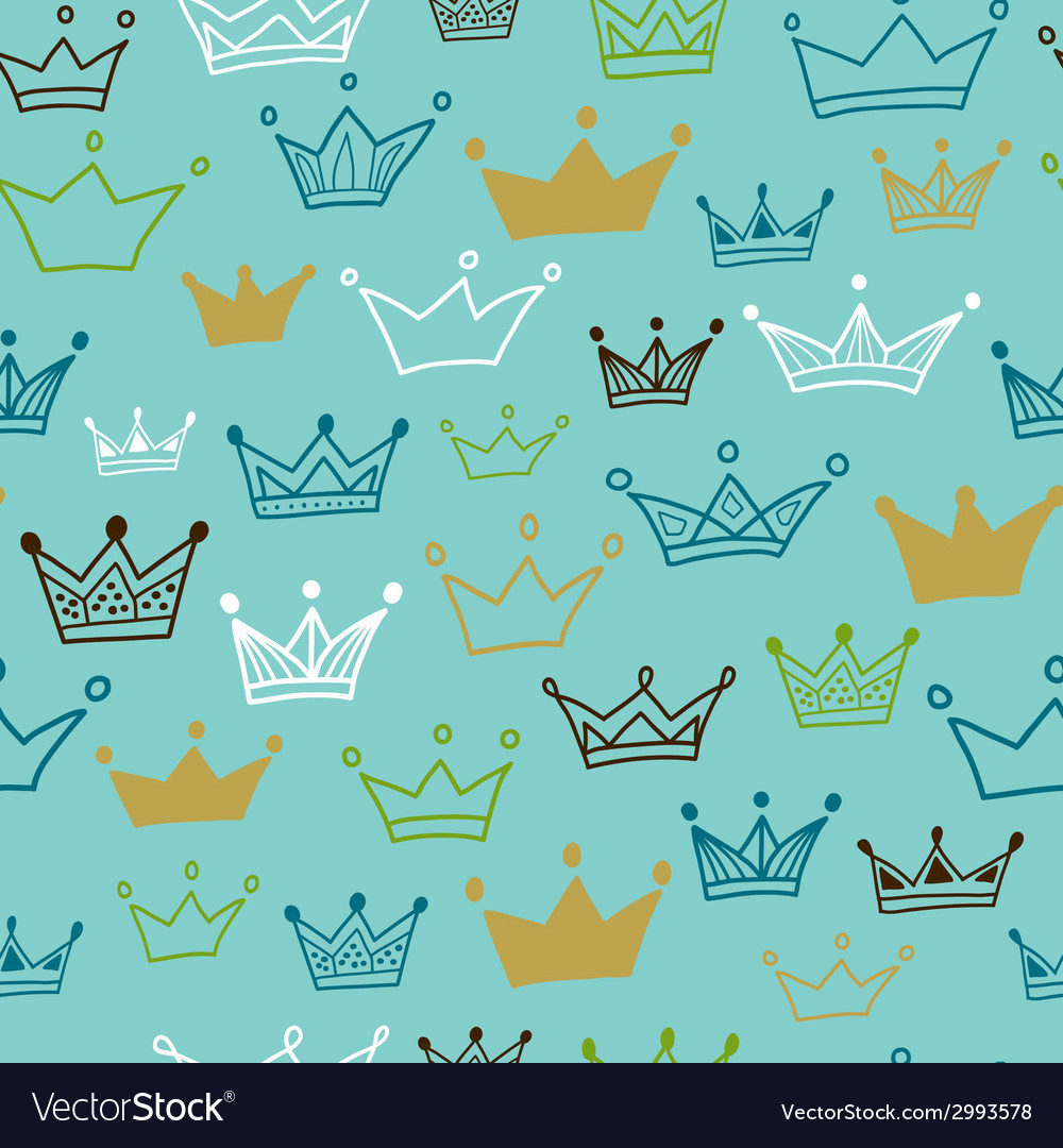 Crowns seamless pattern on blue background vector | Price: 1 Credit (USD $1)