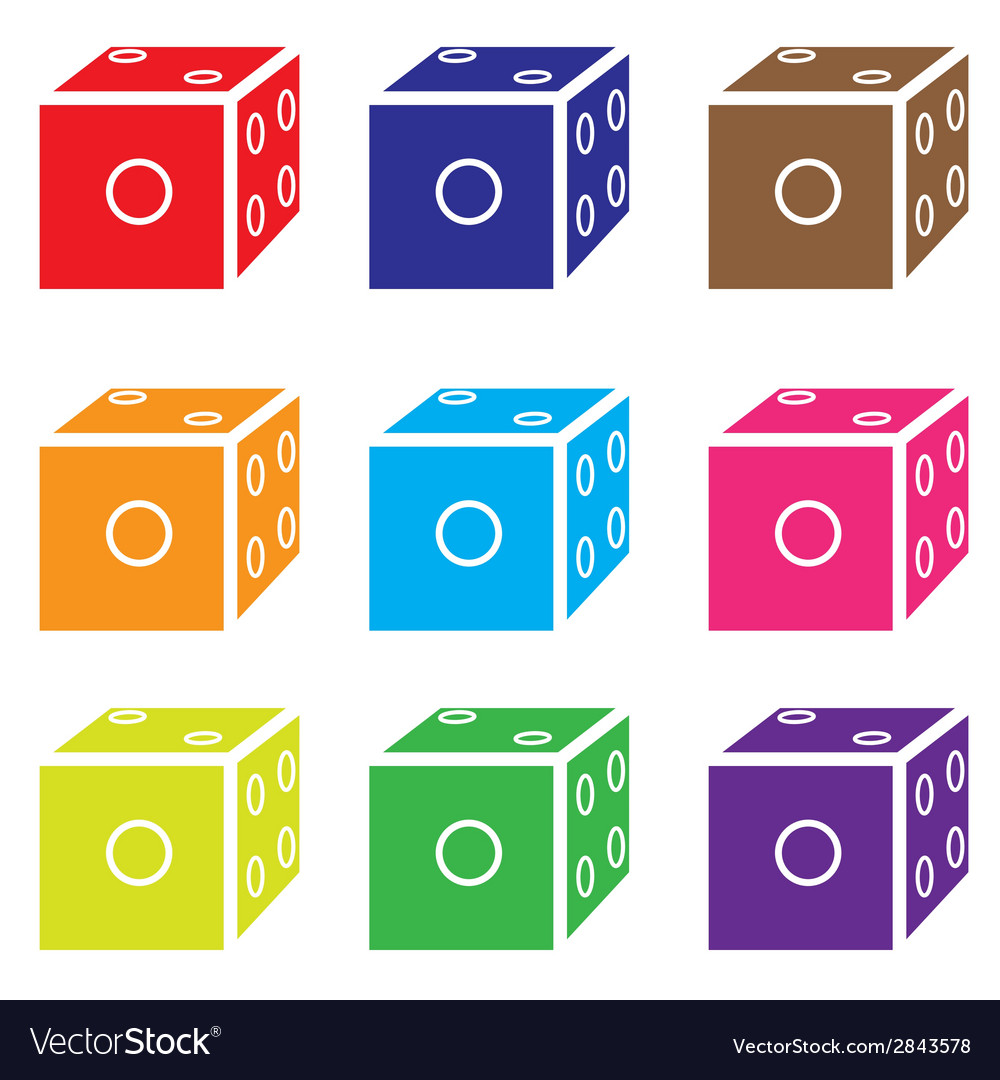 Dice colored set vector | Price: 1 Credit (USD $1)