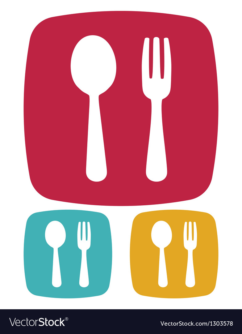 Fork and spoon icon vector | Price: 1 Credit (USD $1)