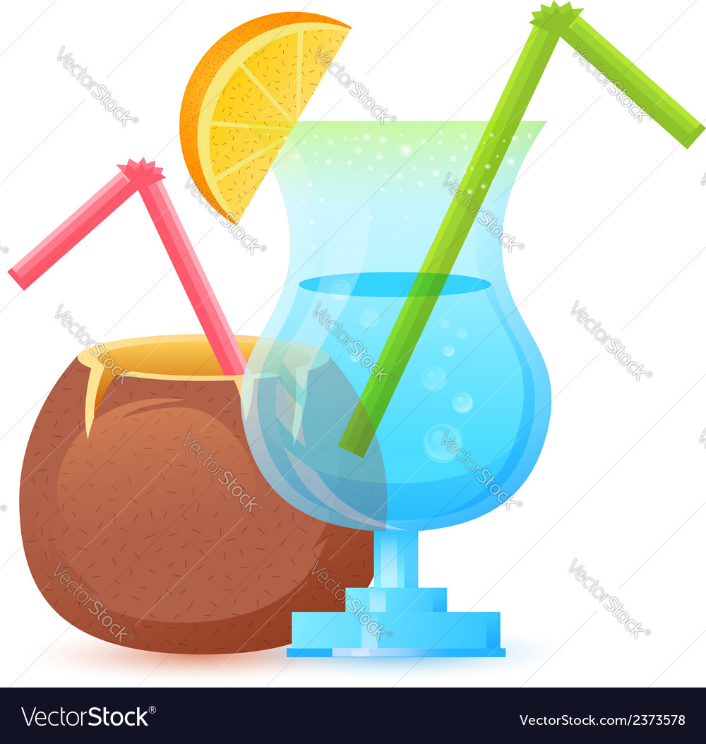 Fresh summer cocktail in glass and coconut vector | Price: 1 Credit (USD $1)
