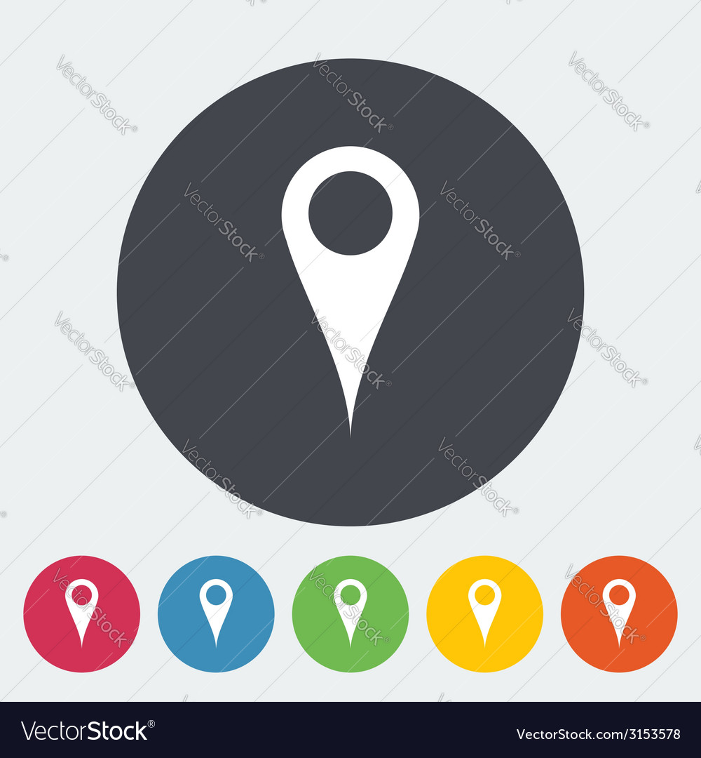 Map pointer single flat icon vector | Price: 1 Credit (USD $1)