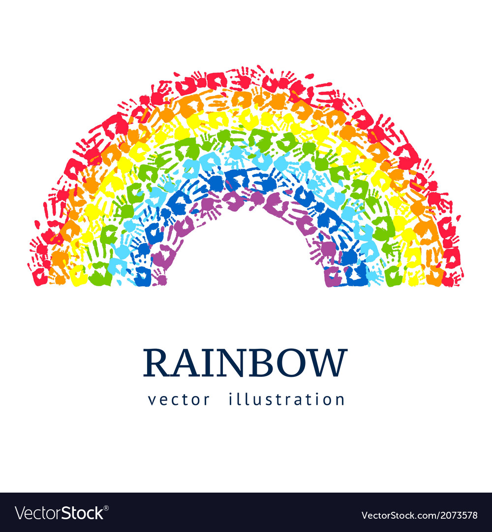Rainbow made from hands abstract background vector | Price: 1 Credit (USD $1)