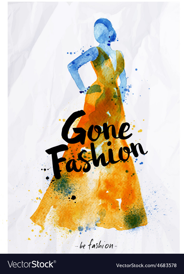 Watercolor fashion poster lettering gone fashion vector | Price: 1 Credit (USD $1)