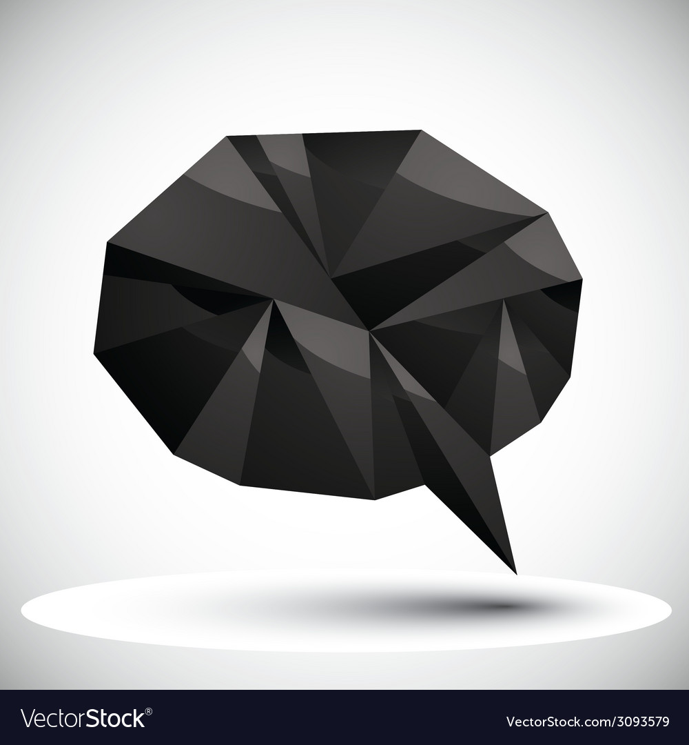Black speech bubble geometric icon made in 3d vector | Price: 1 Credit (USD $1)