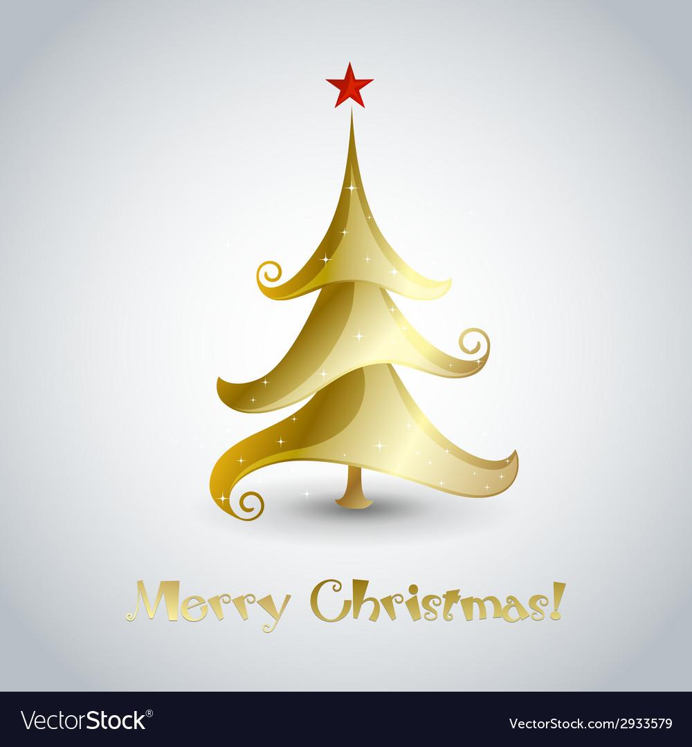 Christmas tree - greeting card vector | Price: 1 Credit (USD $1)