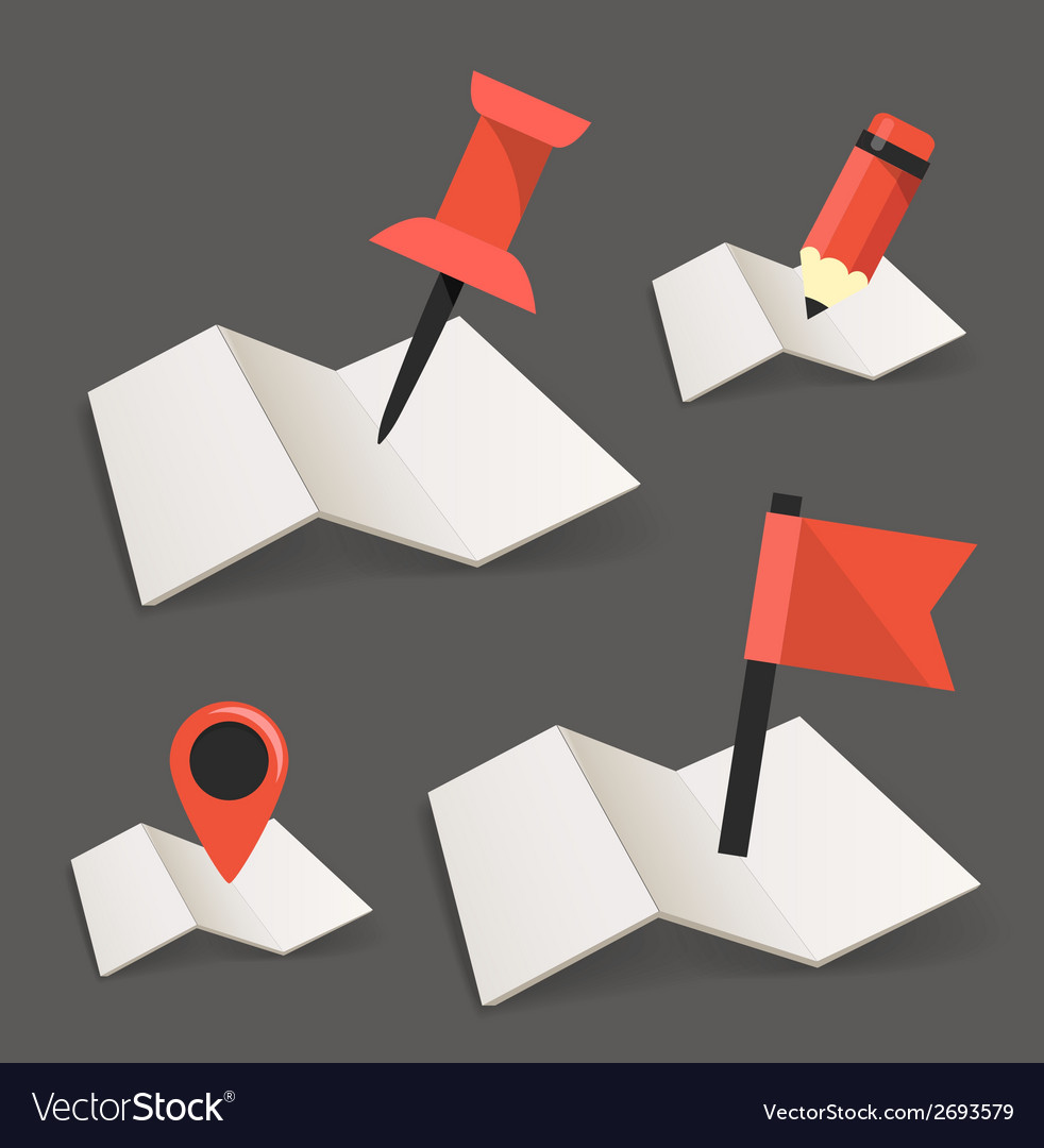 Folded maps with point markers vector | Price: 1 Credit (USD $1)