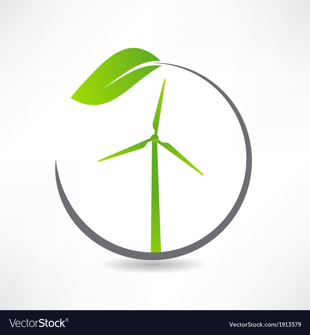 Green ecological windmill icon vector | Price: 1 Credit (USD $1)