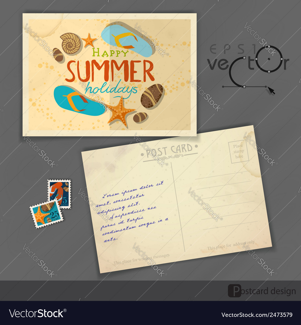 Old postcard design template vector | Price: 1 Credit (USD $1)