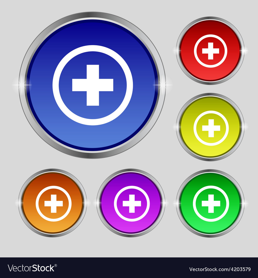 Plus positive zoom icon sign round symbol on vector | Price: 1 Credit (USD $1)