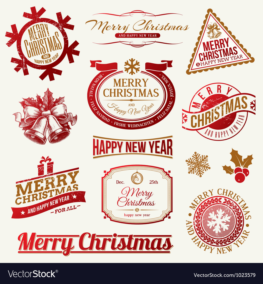 Set of decorative christmas holidays labels vector | Price: 1 Credit (USD $1)