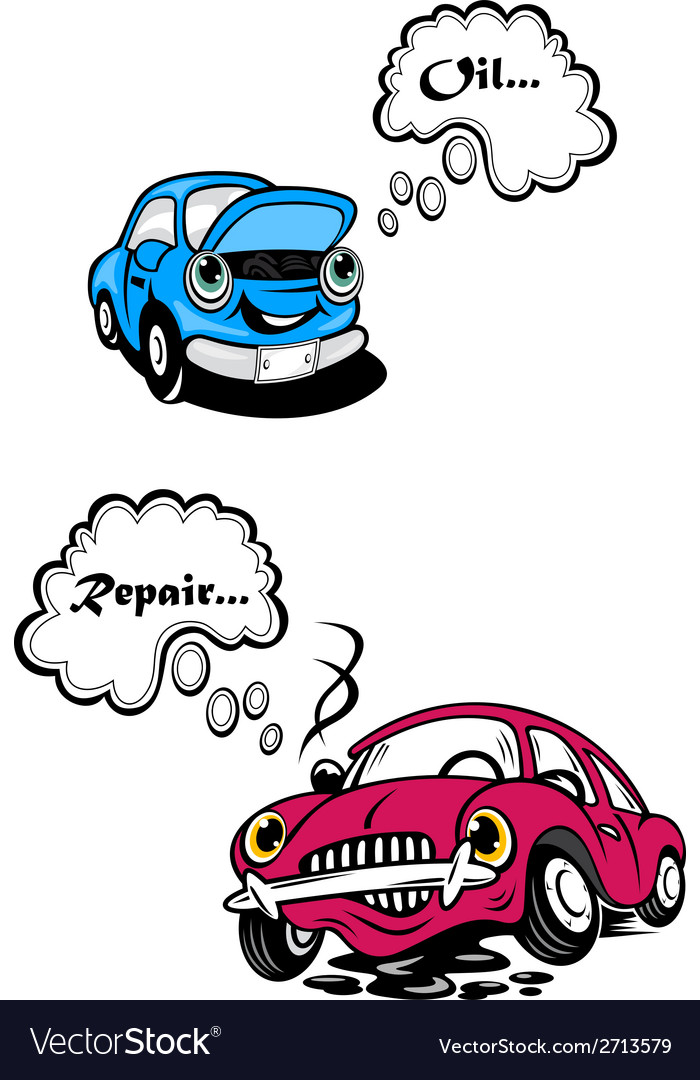 Two cartoon car characters vector | Price: 1 Credit (USD $1)
