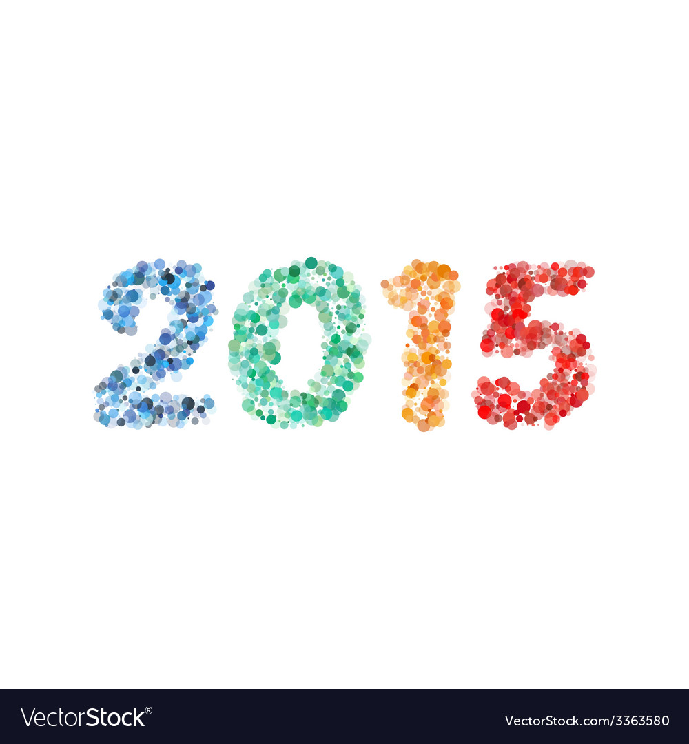 Creative colorful circle happy new year 2015 vector | Price: 1 Credit (USD $1)