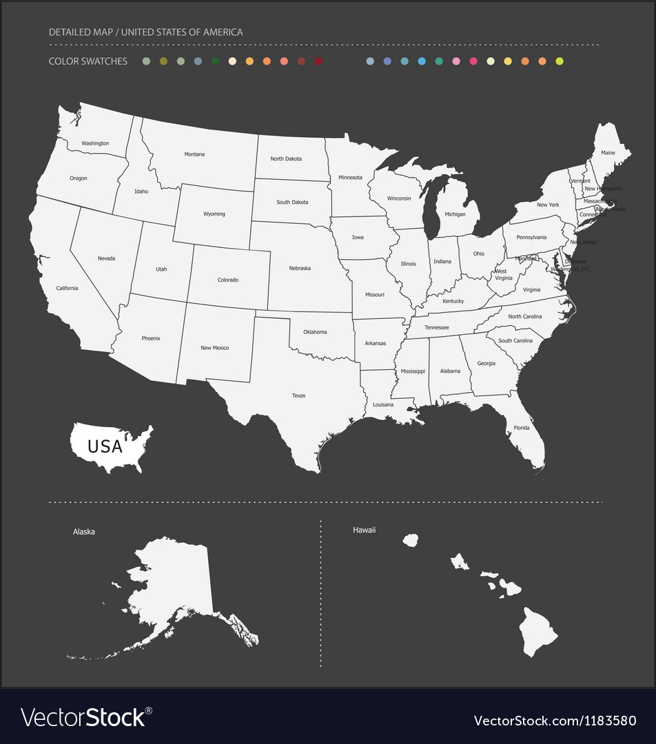 Detailed usa map vector | Price: 1 Credit (USD $1)