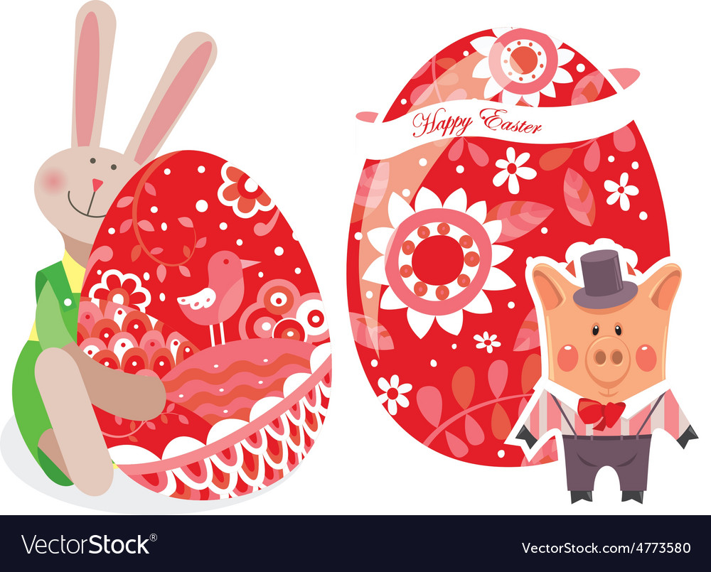 Easter eggs with pig and rabbit vector | Price: 1 Credit (USD $1)
