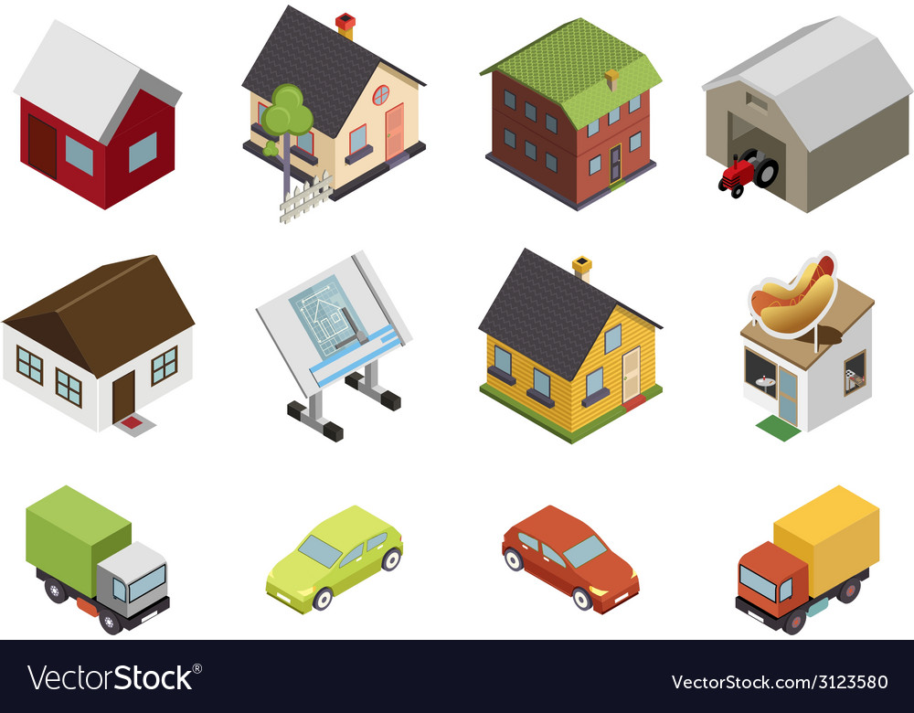 Isometric retro flat cars house real estate icons vector | Price: 1 Credit (USD $1)