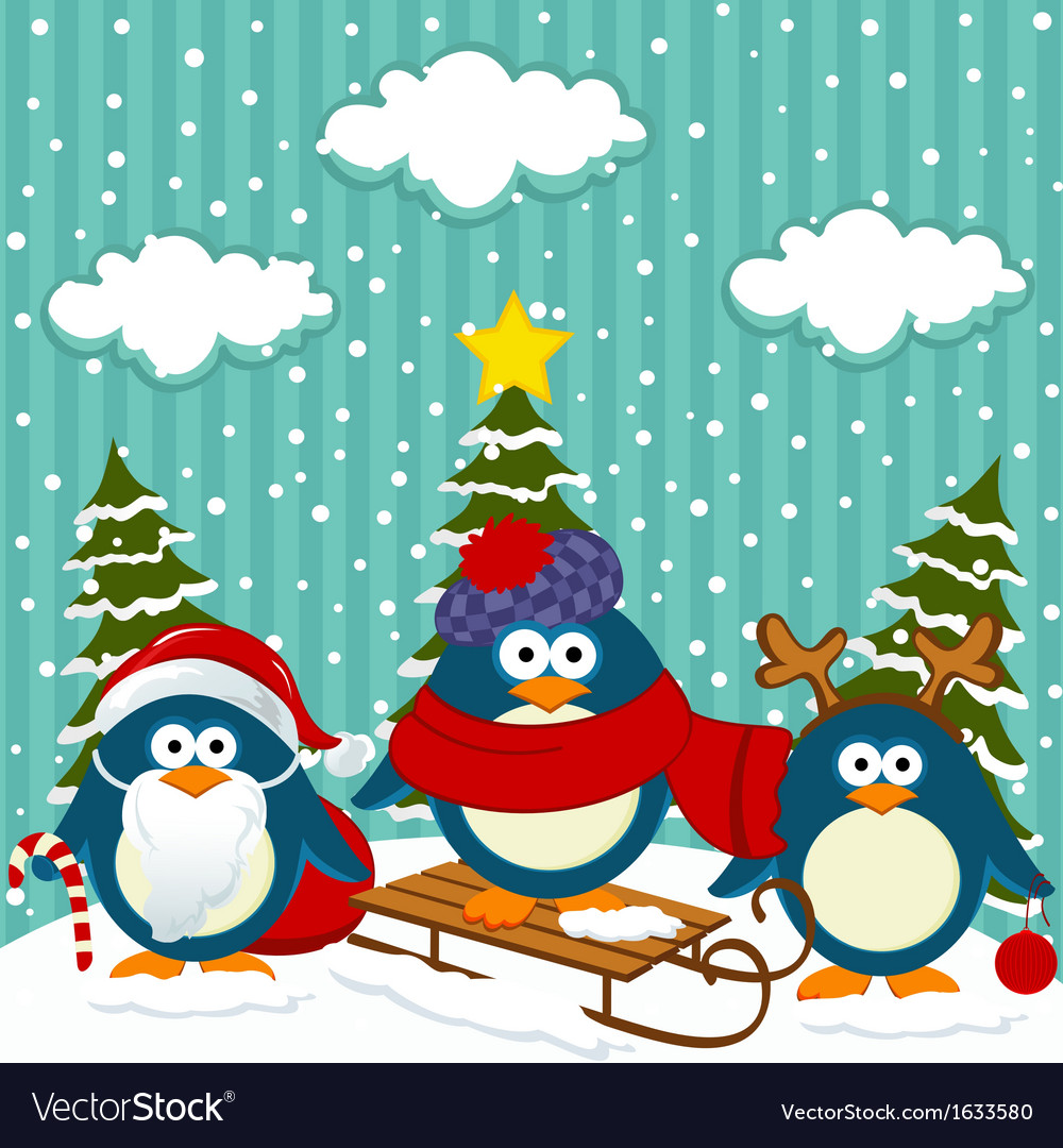 Penguins winter christmas vector | Price: 1 Credit (USD $1)