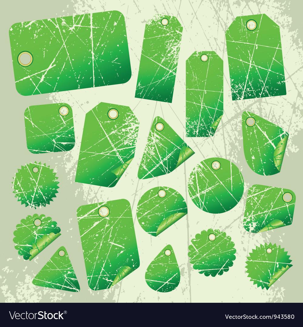 Set of green tags vector