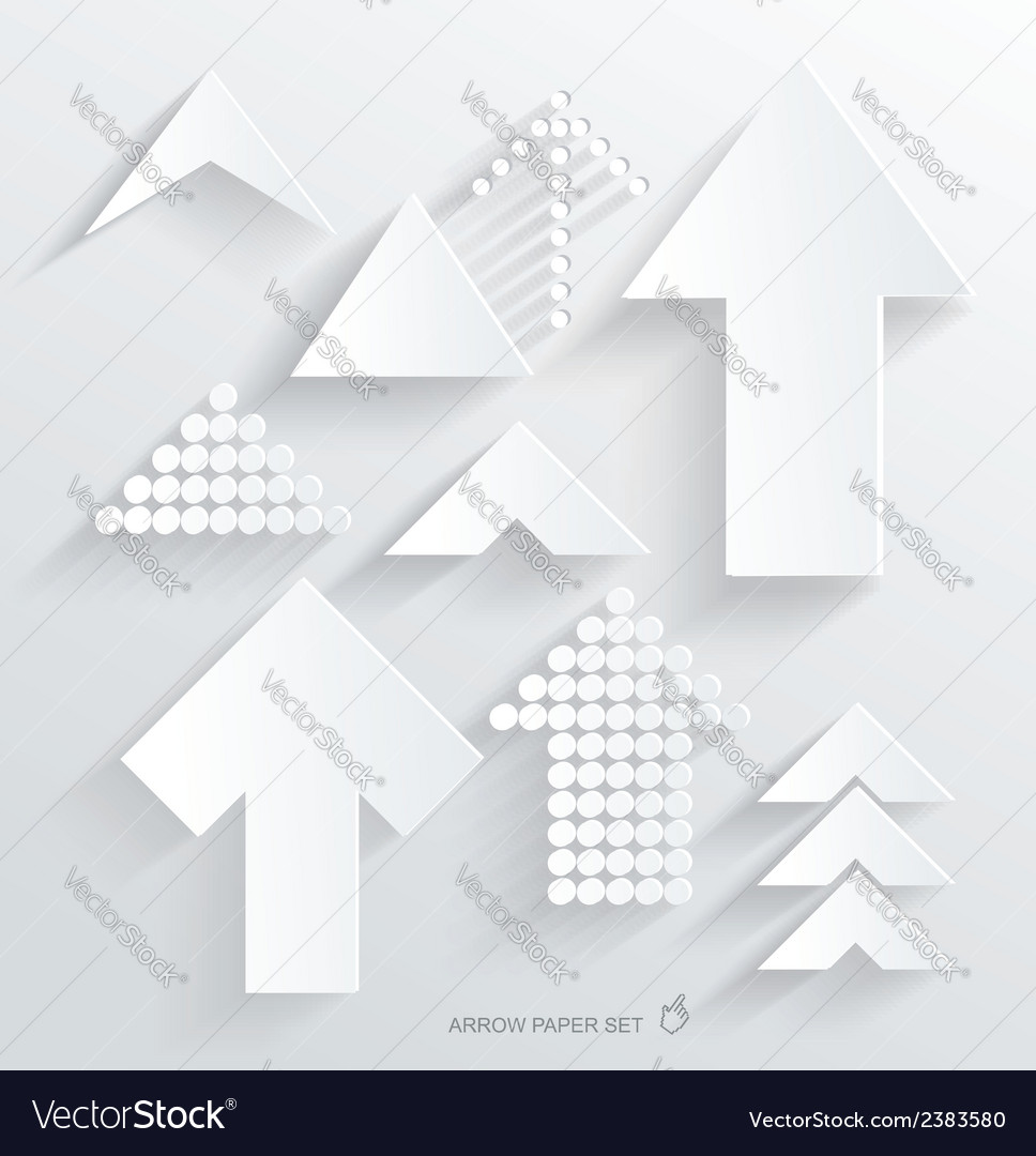 Set of white different paper arrows vector | Price: 1 Credit (USD $1)