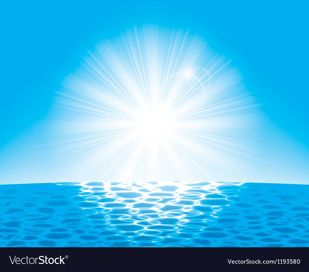 Sun over the sea vector | Price: 1 Credit (USD $1)