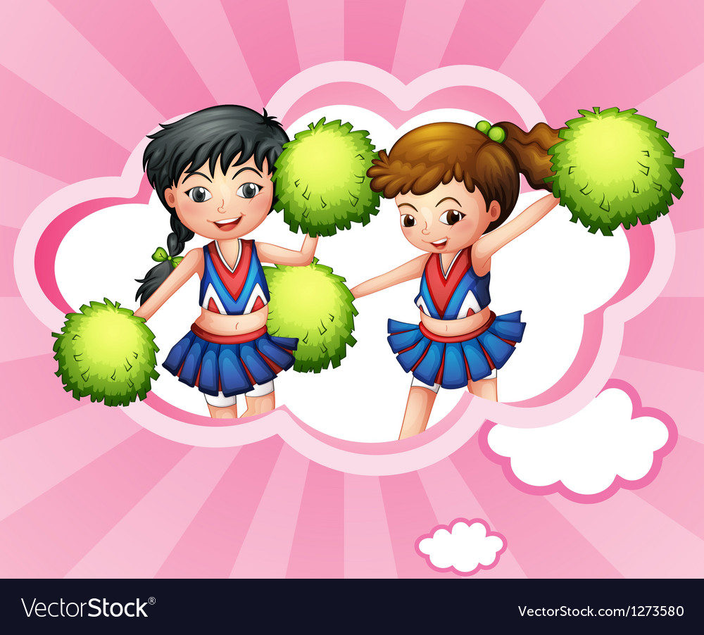 Two cheerers inside a cloud vector | Price: 1 Credit (USD $1)