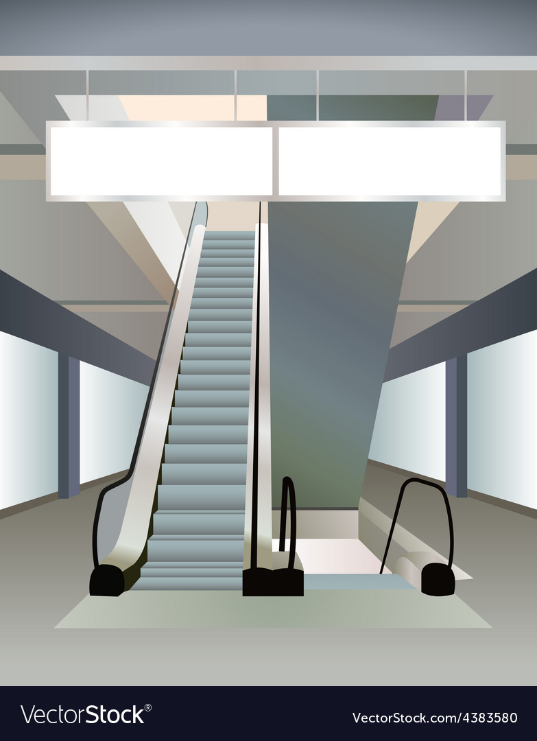 Two escalators in mall and plates vector | Price: 3 Credit (USD $3)
