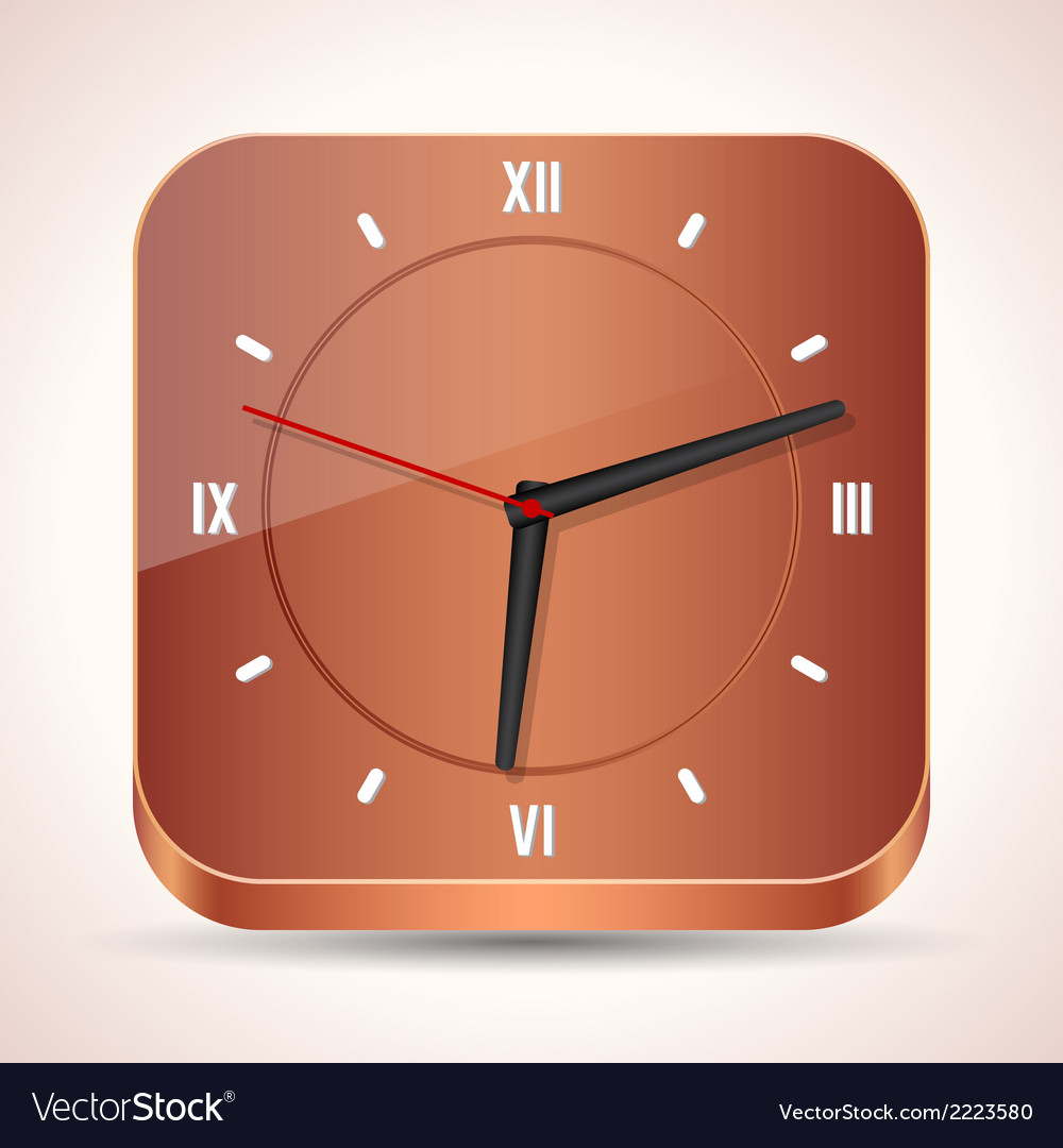Wooden clock icon vector | Price: 1 Credit (USD $1)