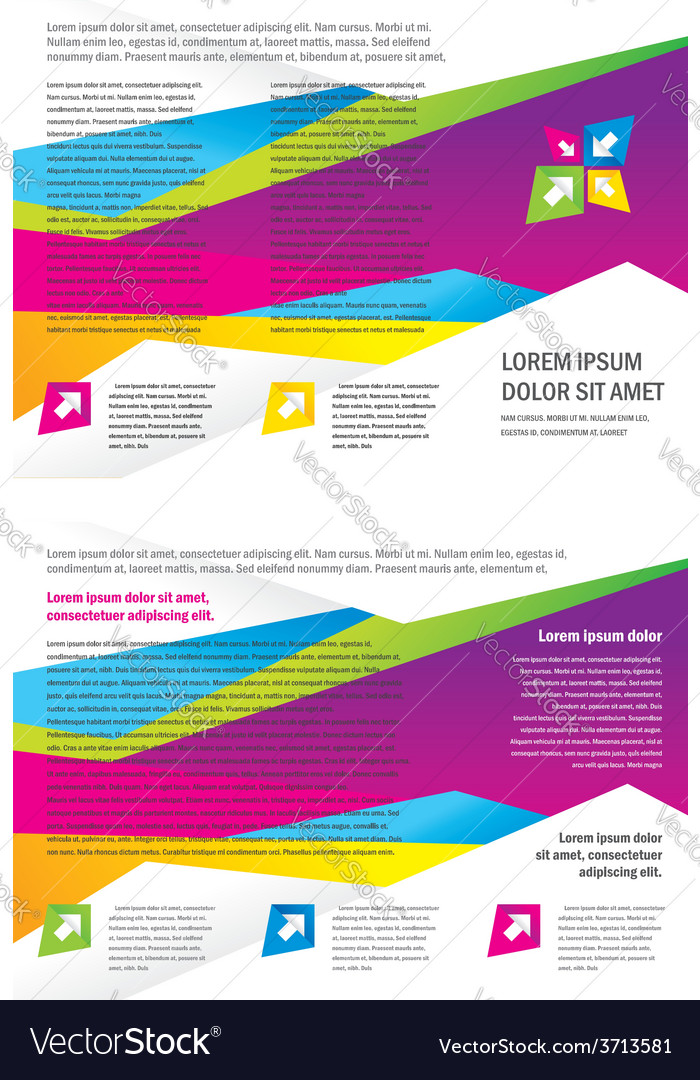 Brochure tri-fold layout design template triangles vector | Price: 1 Credit (USD $1)