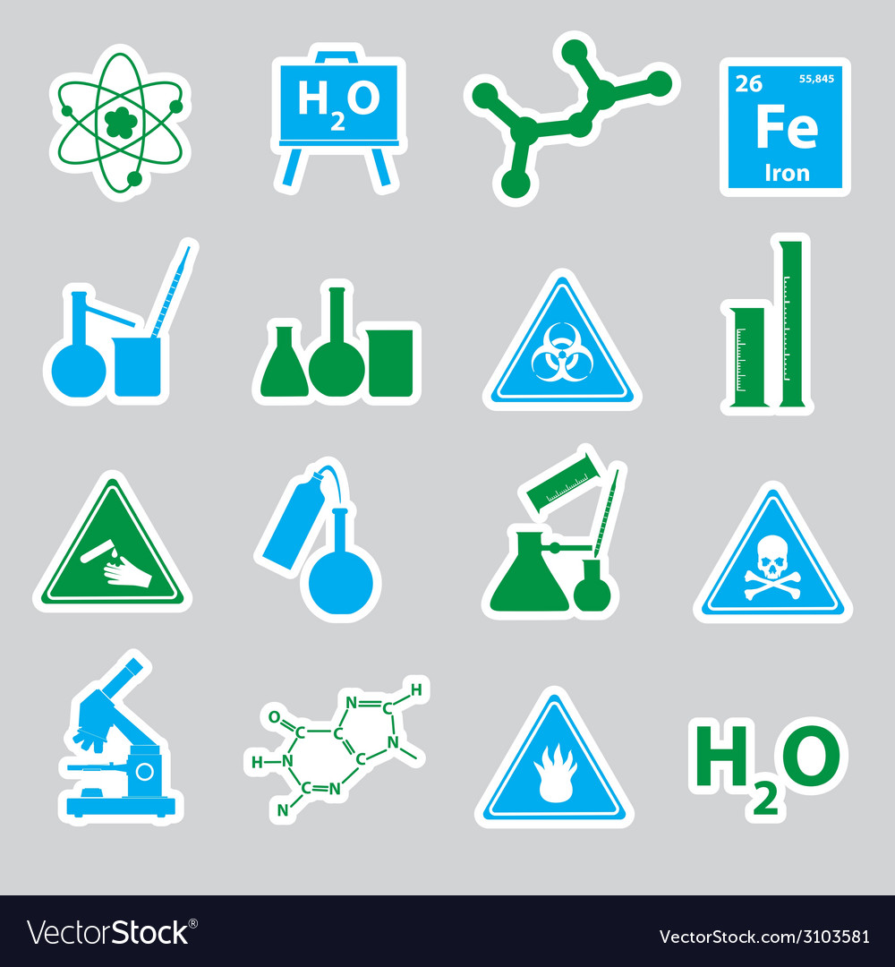 Chemistry color stickers set eps10 vector | Price: 1 Credit (USD $1)