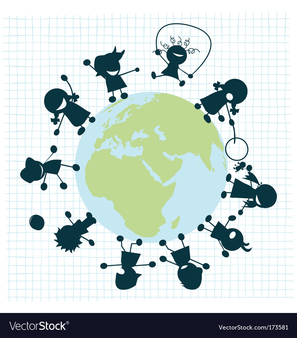 Children around the globe vector   Price: 1 Credit (USD $1)