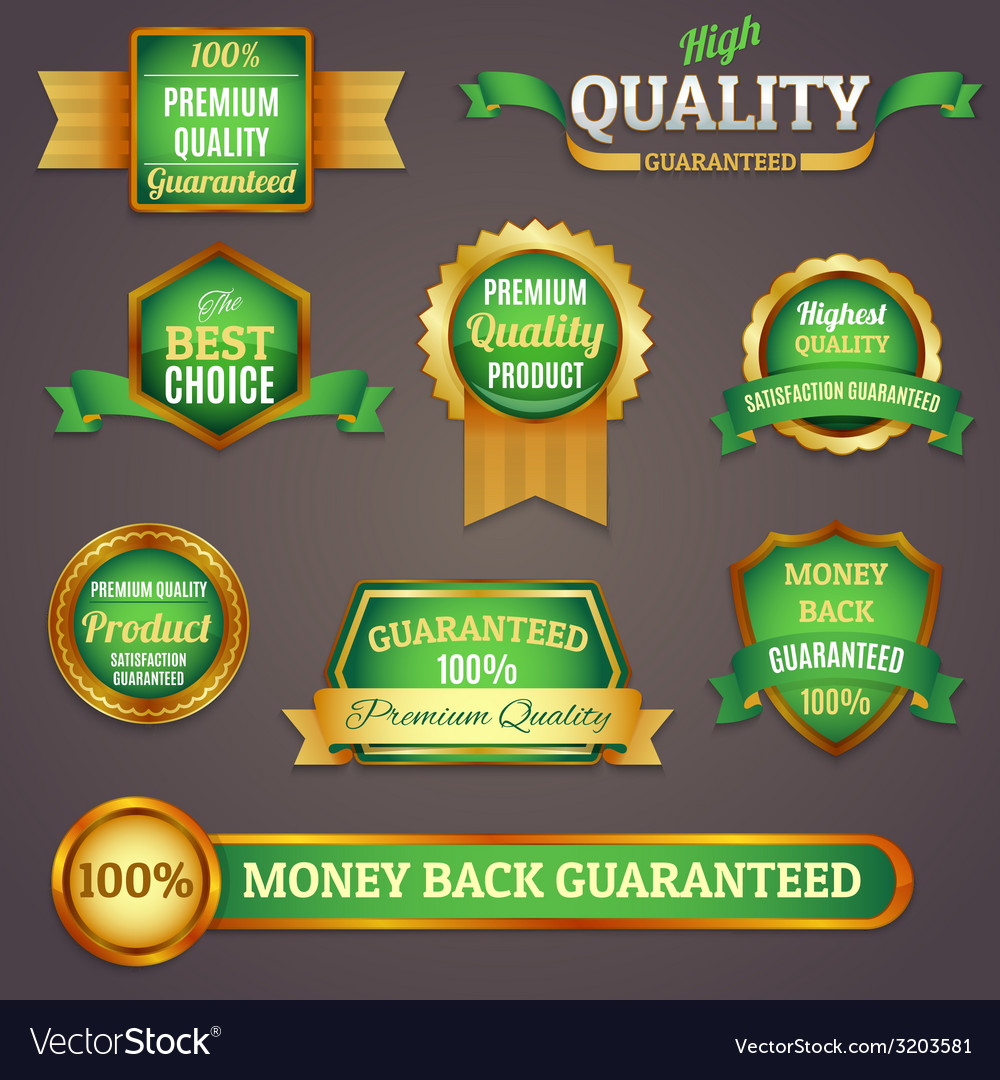 Colored quality labels set vector | Price: 1 Credit (USD $1)