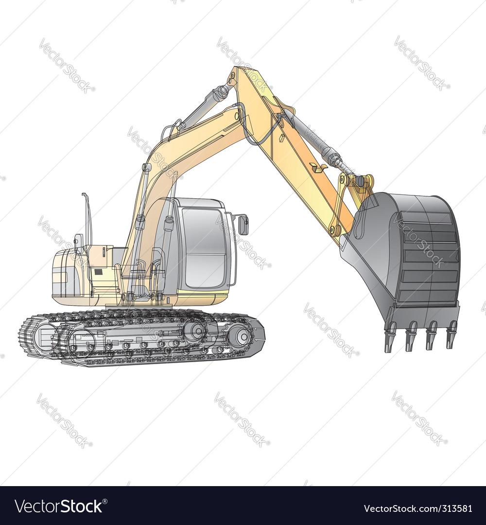 Crawler excavator carcass vector | Price: 3 Credit (USD $3)