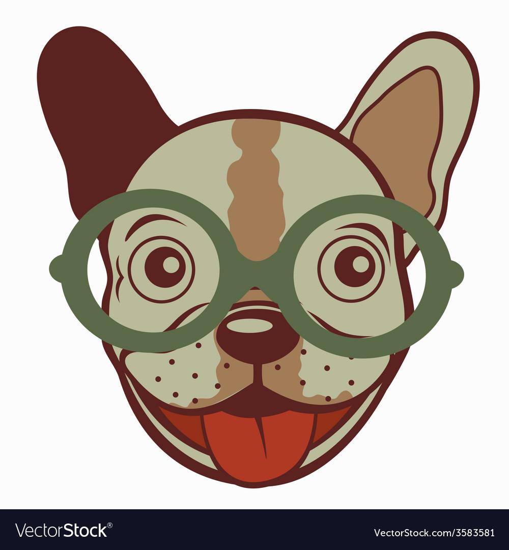 French bulldog in glasses vector | Price: 1 Credit (USD $1)