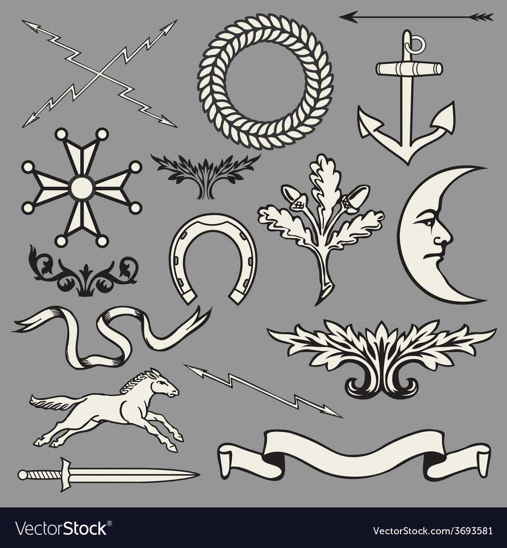 Heraldic symbols and elements vector | Price: 1 Credit (USD $1)