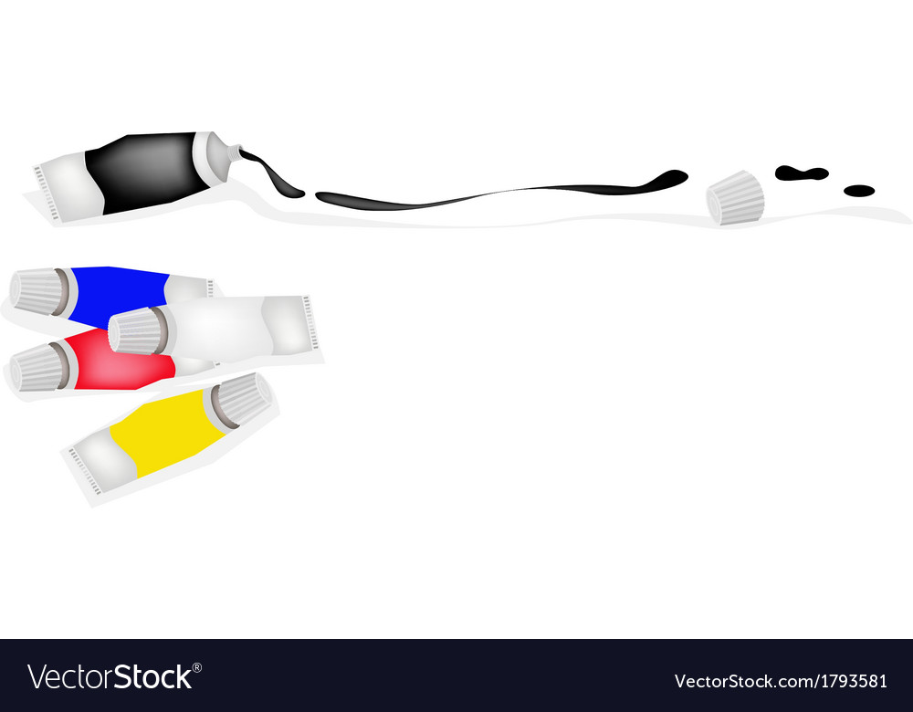 Paint tube of primary colors with white and black vector | Price: 1 Credit (USD $1)