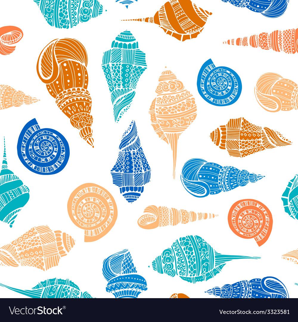 Seashell seamless pattern vector | Price: 1 Credit (USD $1)