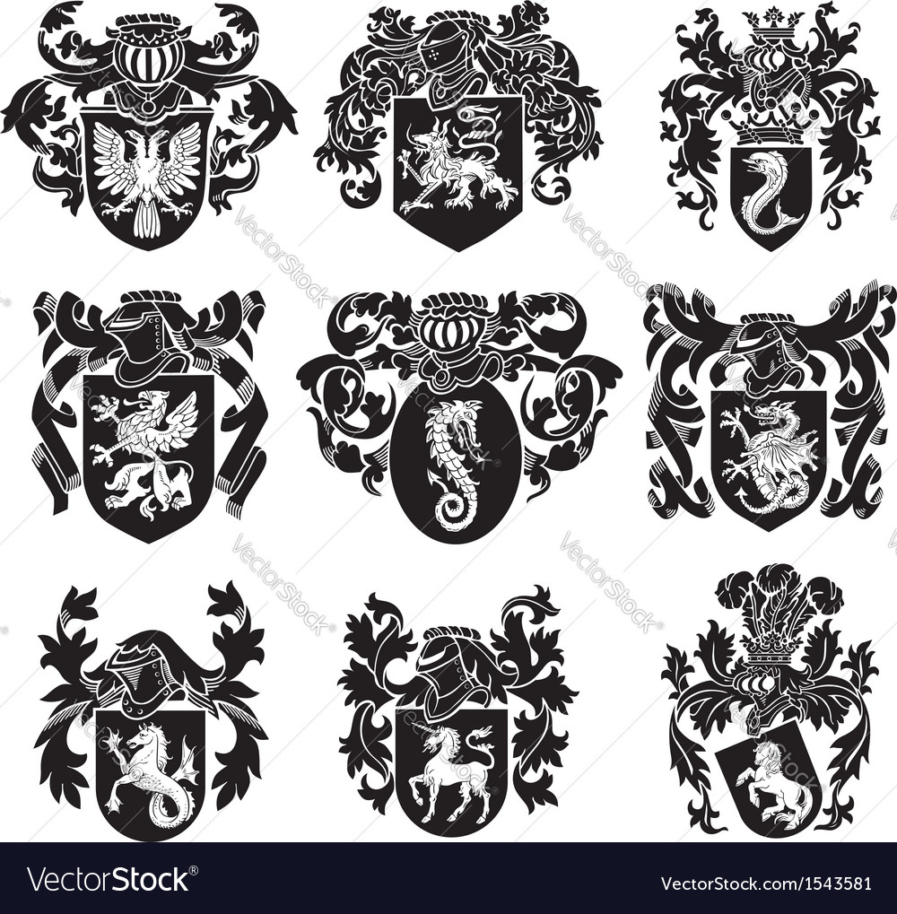 Set of heraldic silhouettes no1 vector | Price: 1 Credit (USD $1)