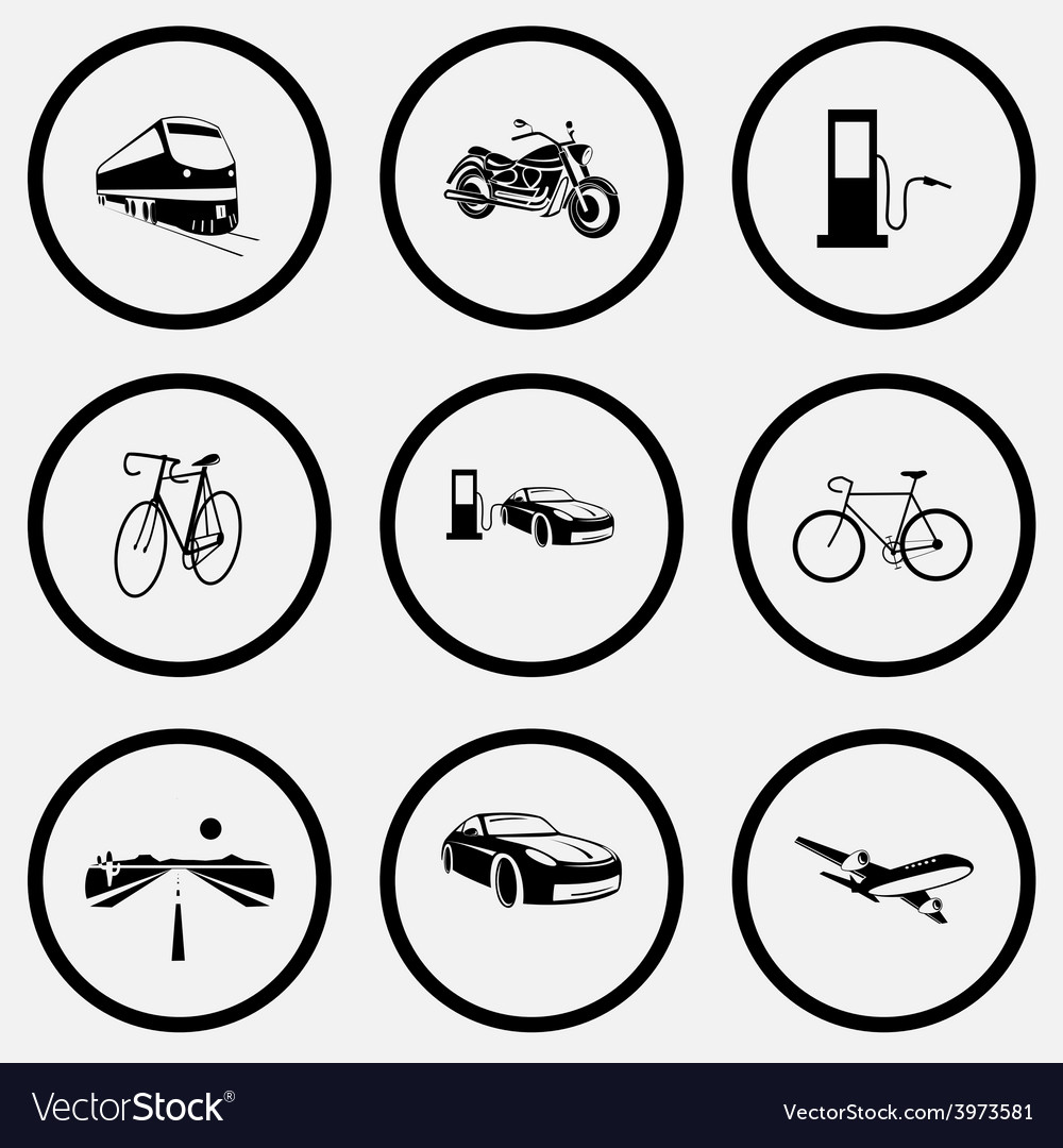 Train motorcycle fueling station bicycle car vector   Price: 1 Credit (USD $1)