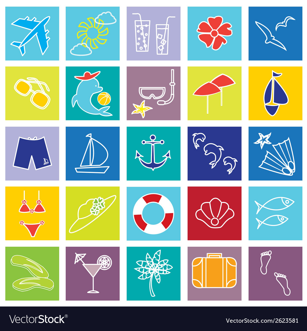 Vacation and beach icons on colorful backgrounds vector | Price: 1 Credit (USD $1)