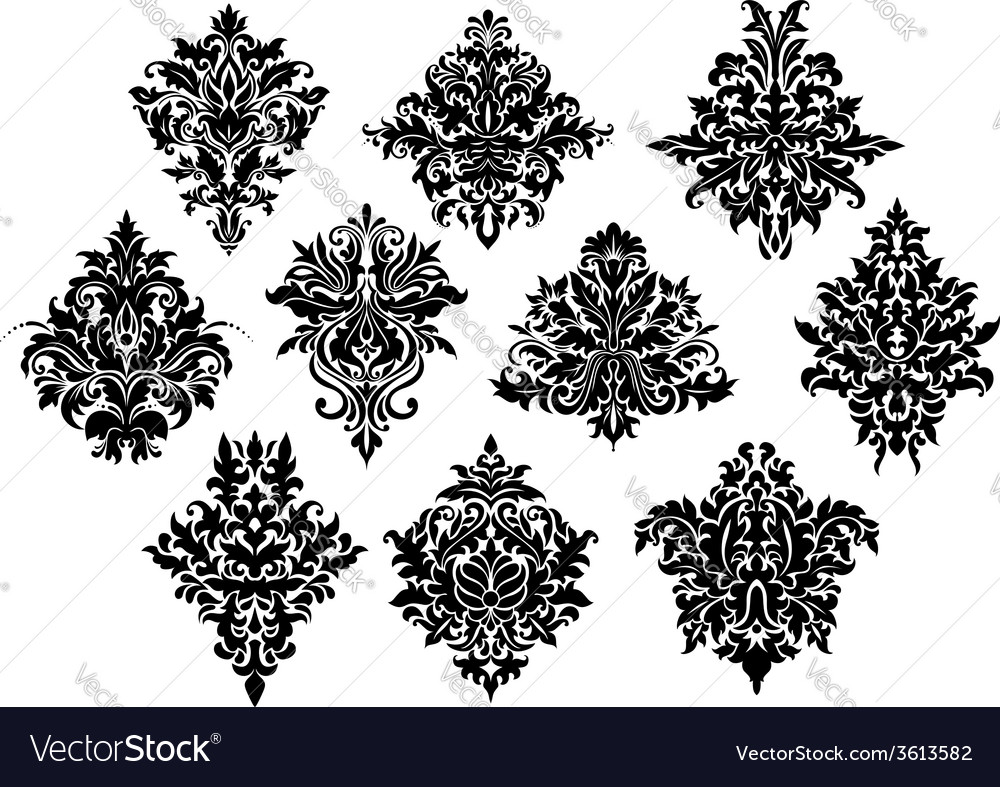 Black ornate flowers in damask style vector   Price: 1 Credit (USD $1)