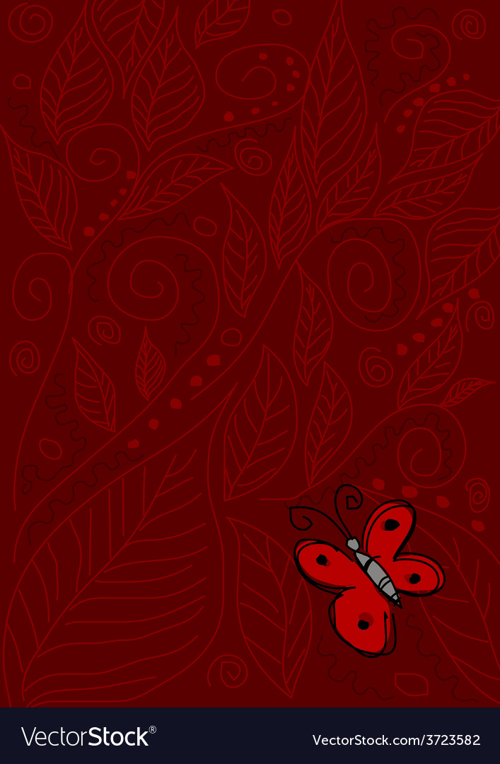 Butterfly on red vector | Price: 1 Credit (USD $1)