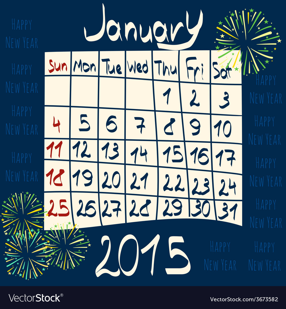 Calendar for january 2015 cartoon style fireworks vector | Price: 1 Credit (USD $1)