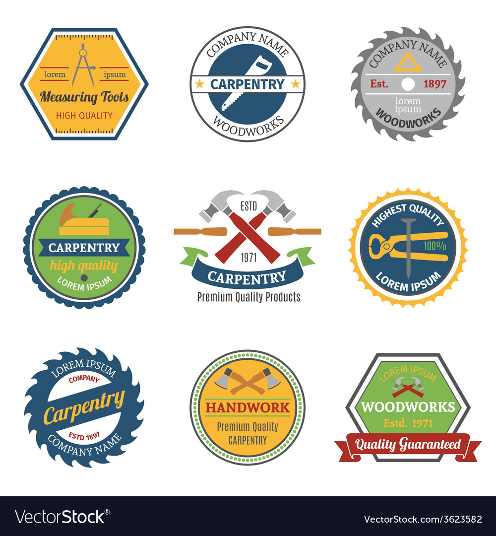 Carpentry color emblems vector | Price: 1 Credit (USD $1)