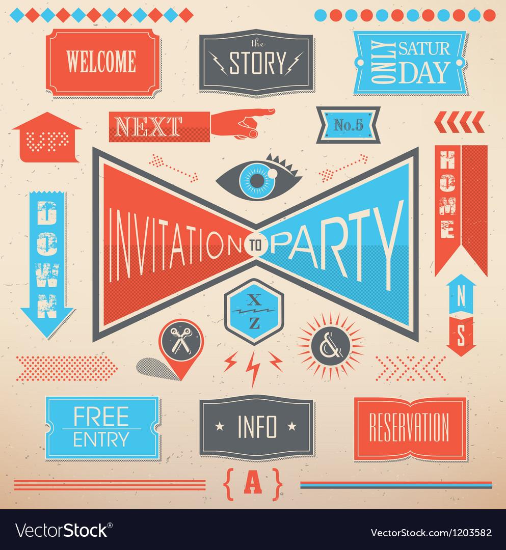 Invitation party design elements vector | Price: 1 Credit (USD $1)