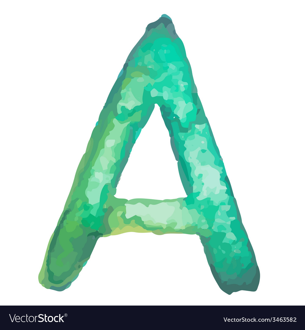 Letter a colorful watercolor aquarelle font type vector | Price: 1 Credit (USD $1)