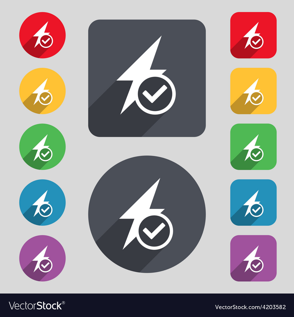 Photo flash icon sign a set of 12 colored buttons vector | Price: 1 Credit (USD $1)