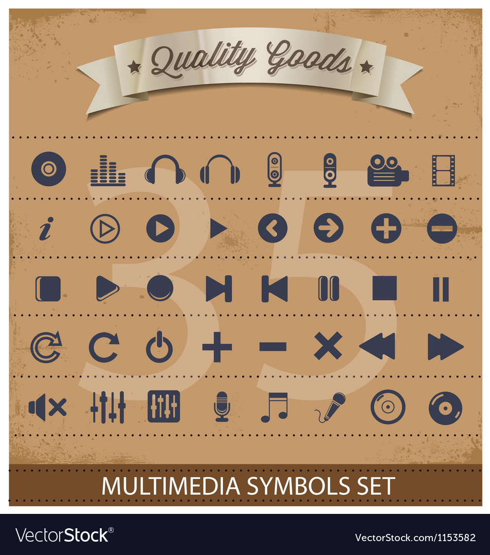 Pictogram multimedia symbols set vector | Price: 1 Credit (USD $1)