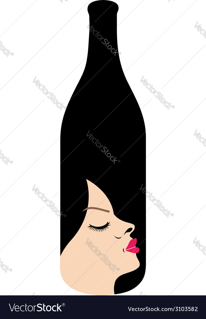 Pretty lady in a bottle- beverage business logo vector | Price: 1 Credit (USD $1)