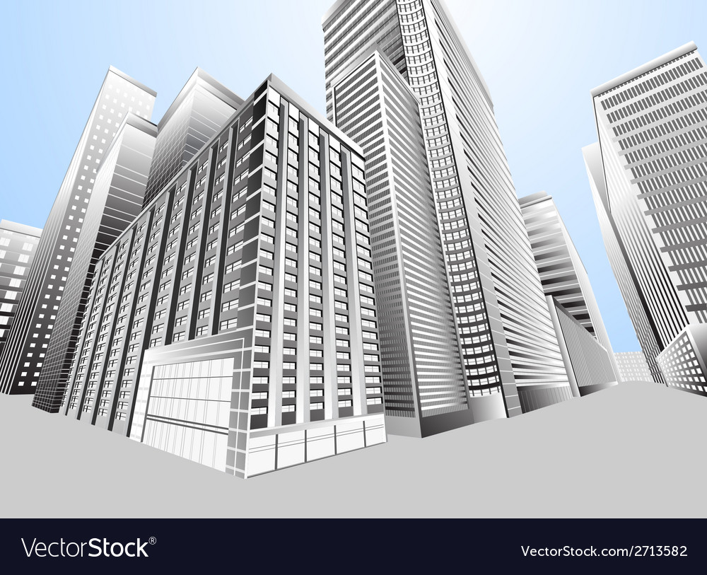 Townscape urban city vector | Price: 1 Credit (USD $1)
